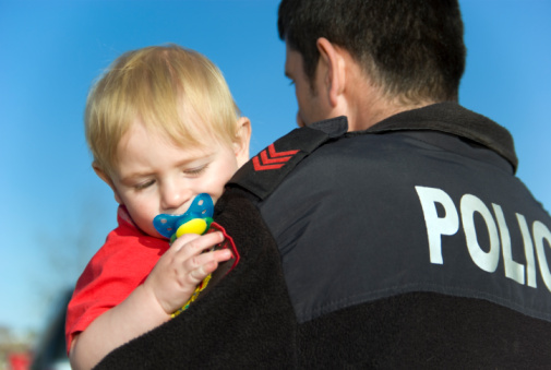 Policeman and child